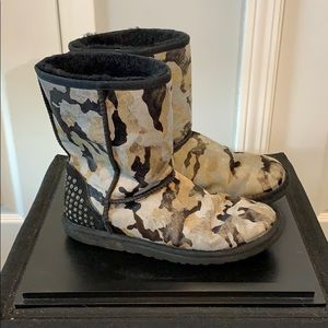 UGG camouflage calf hair boots